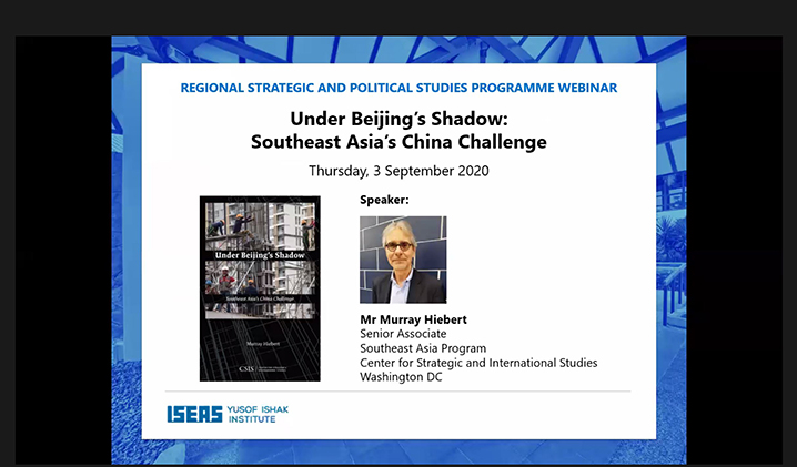 "Webinar on ""Under Beijing's Shadow: Southeast Asia's China Challenge"""