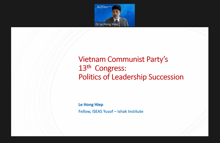 "Webinar on ""Vietnam Communist Party's 13th Congress: Politics of Leadership Succession"""