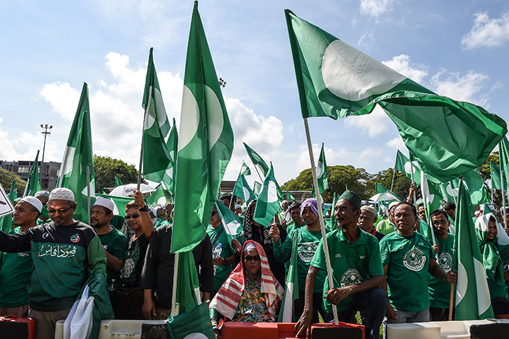 PAS supporters pictured here on April 2018. It was PAS' grassroot machinery prowess that led to the recent Umno victory in the Slim by-election state assembly seat in Perak.